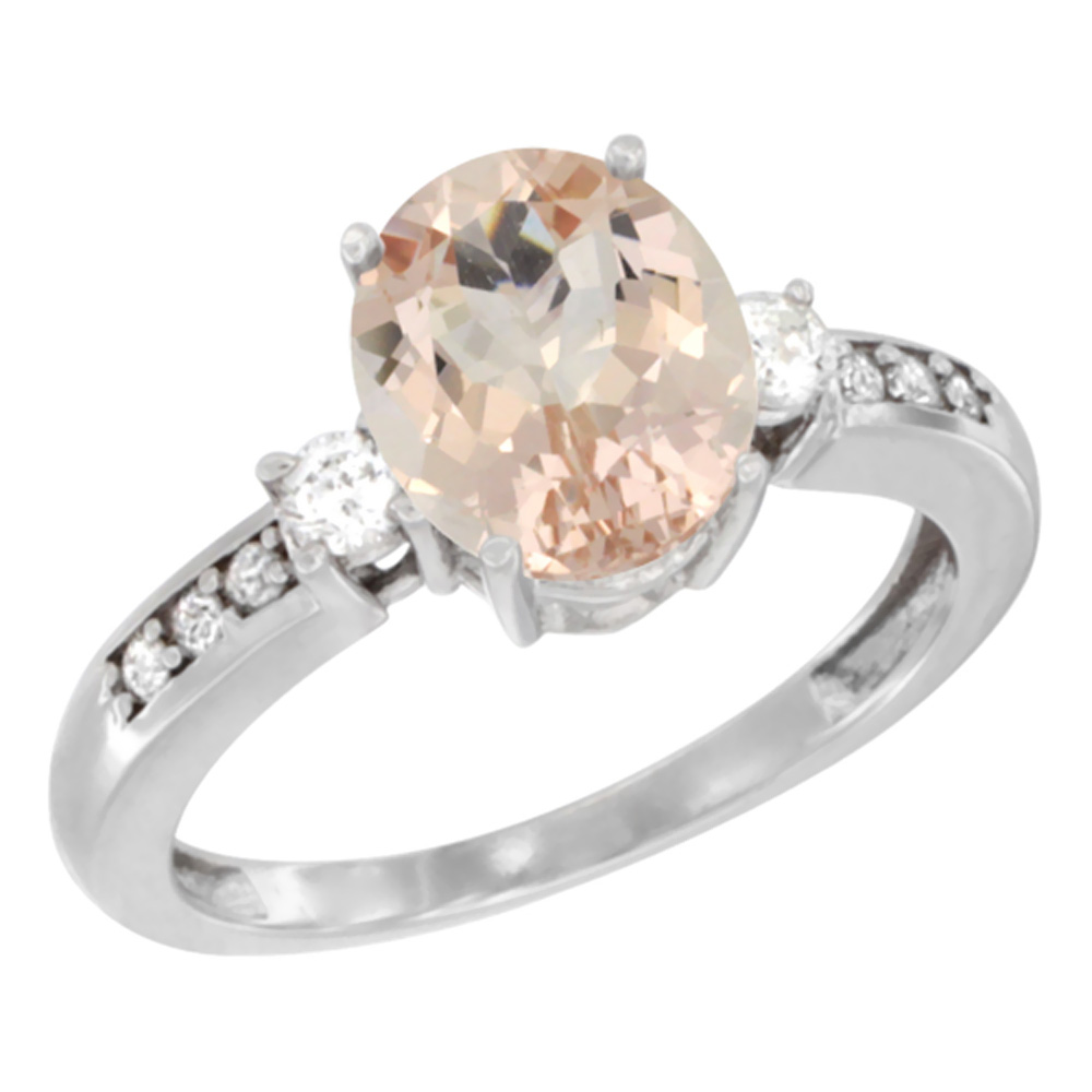 10k White Gold Natural Morganite Ring Oval 9x7 mm Diamond Accent, sizes 5 - 10