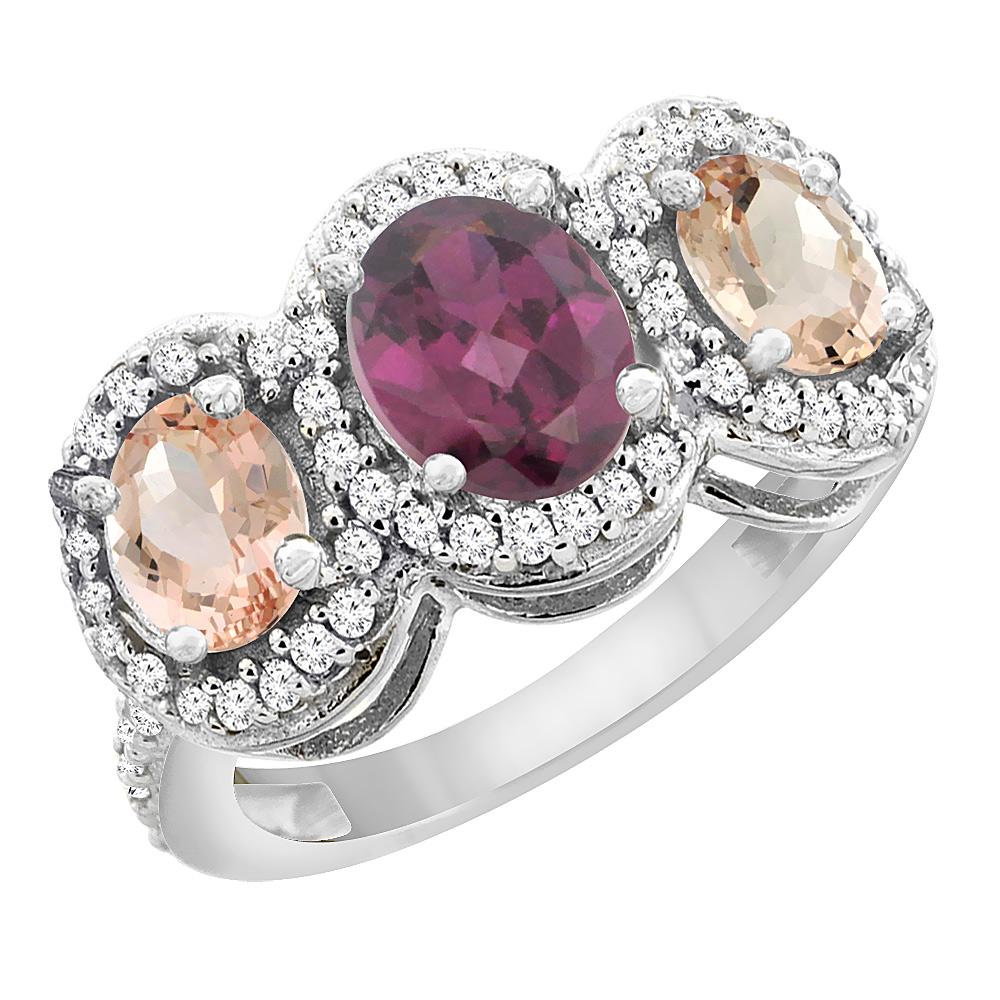 14K White Gold Natural Rhodolite & Morganite 3-Stone Ring Oval Diamond Accent, sizes 5 - 10