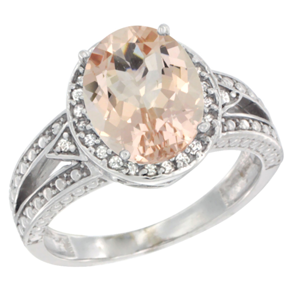 10k White Gold Natural Morganite Ring Oval 9x7 mm Diamond Halo, sizes 5 - 10
