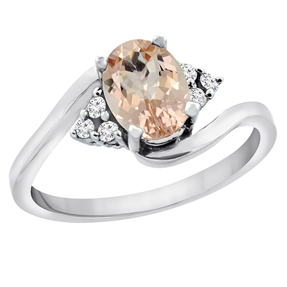 10K White Gold Diamond Natural Morganite Engagement Ring Oval 7x5mm, sizes 5 - 10