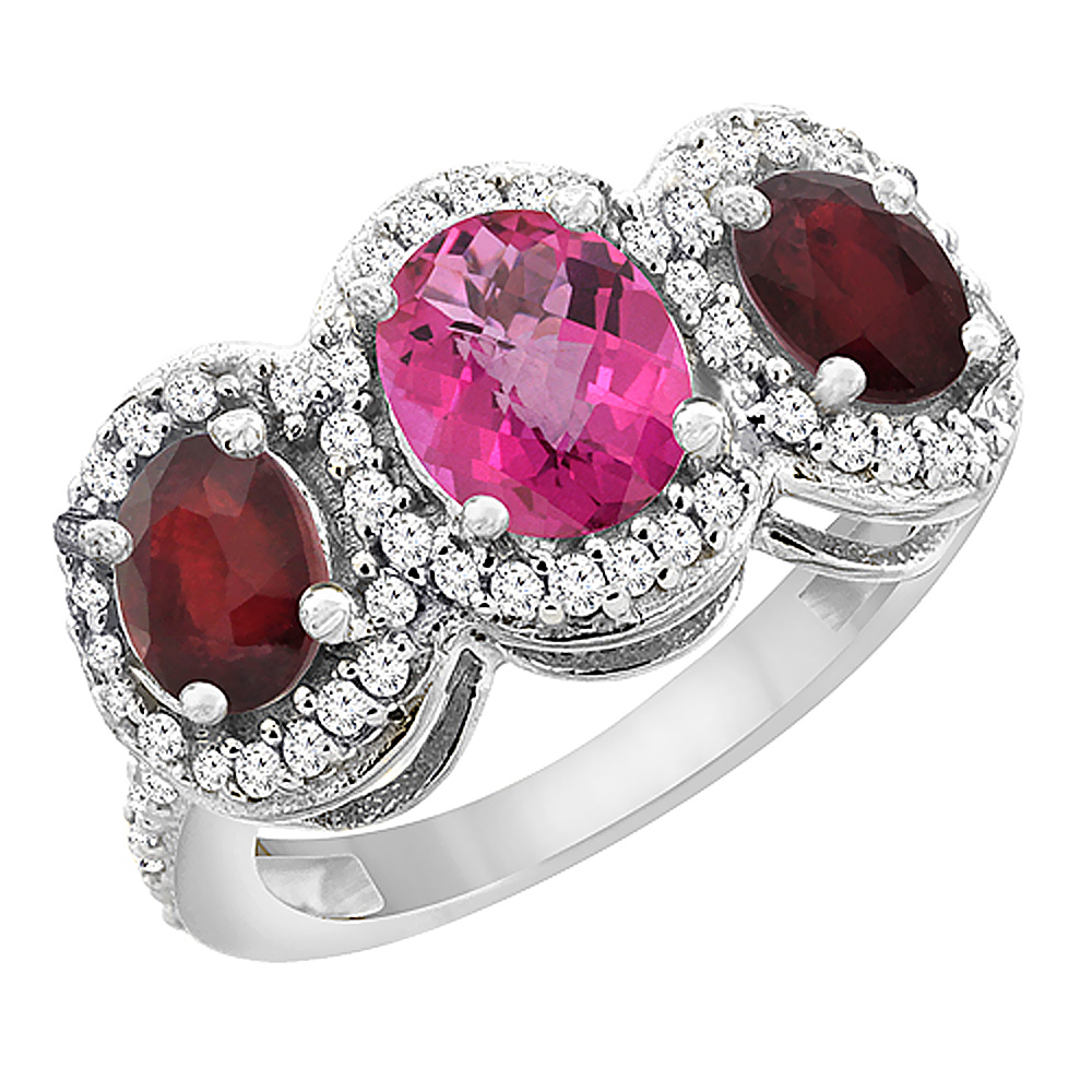 10K White Gold Natural Pink Sapphire & Enhanced Ruby 3-Stone Ring Oval Diamond Accent, sizes 5 - 10
