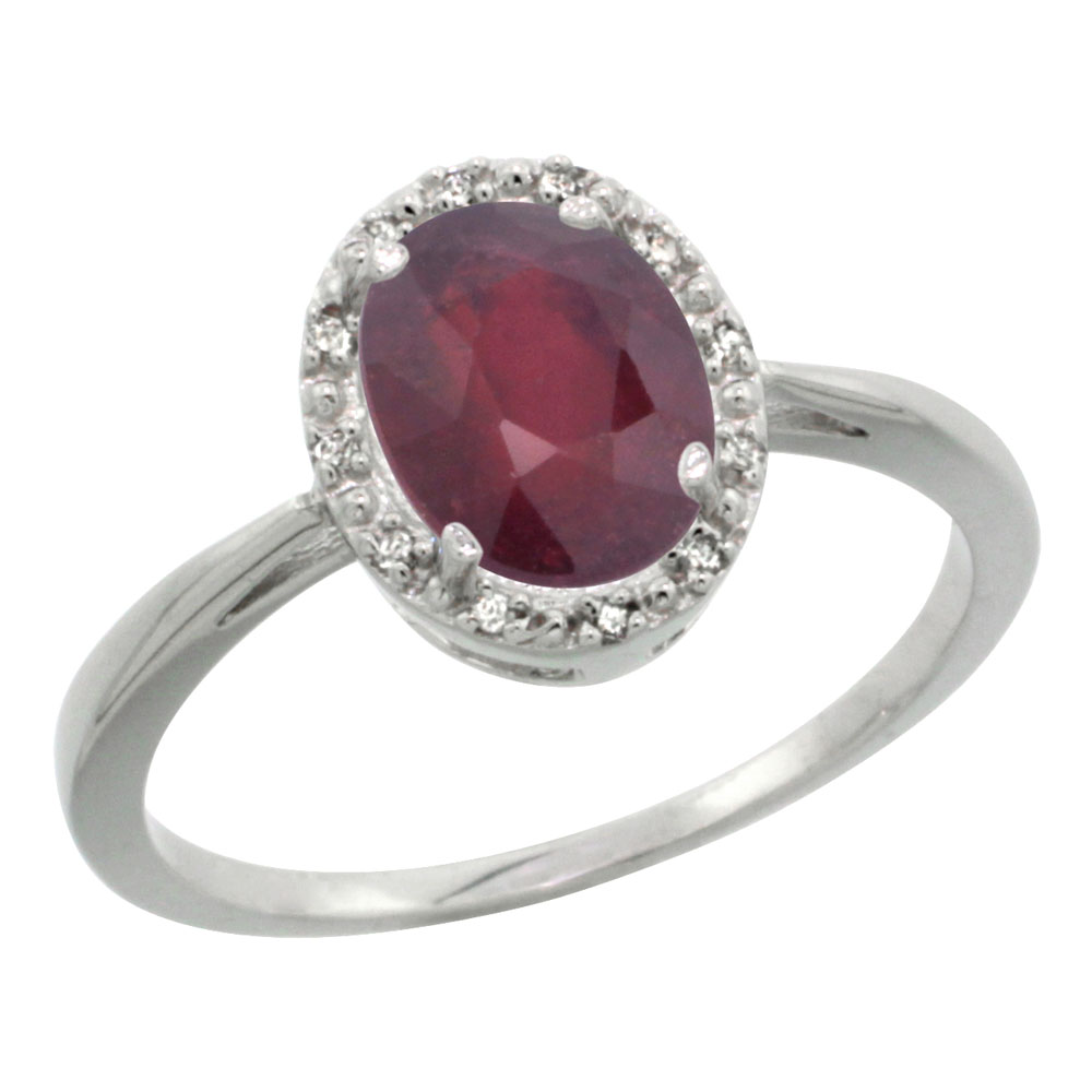 14K White Gold Enhanced Ruby Diamond Halo Ring Oval 8X6mm, sizes 5-10
