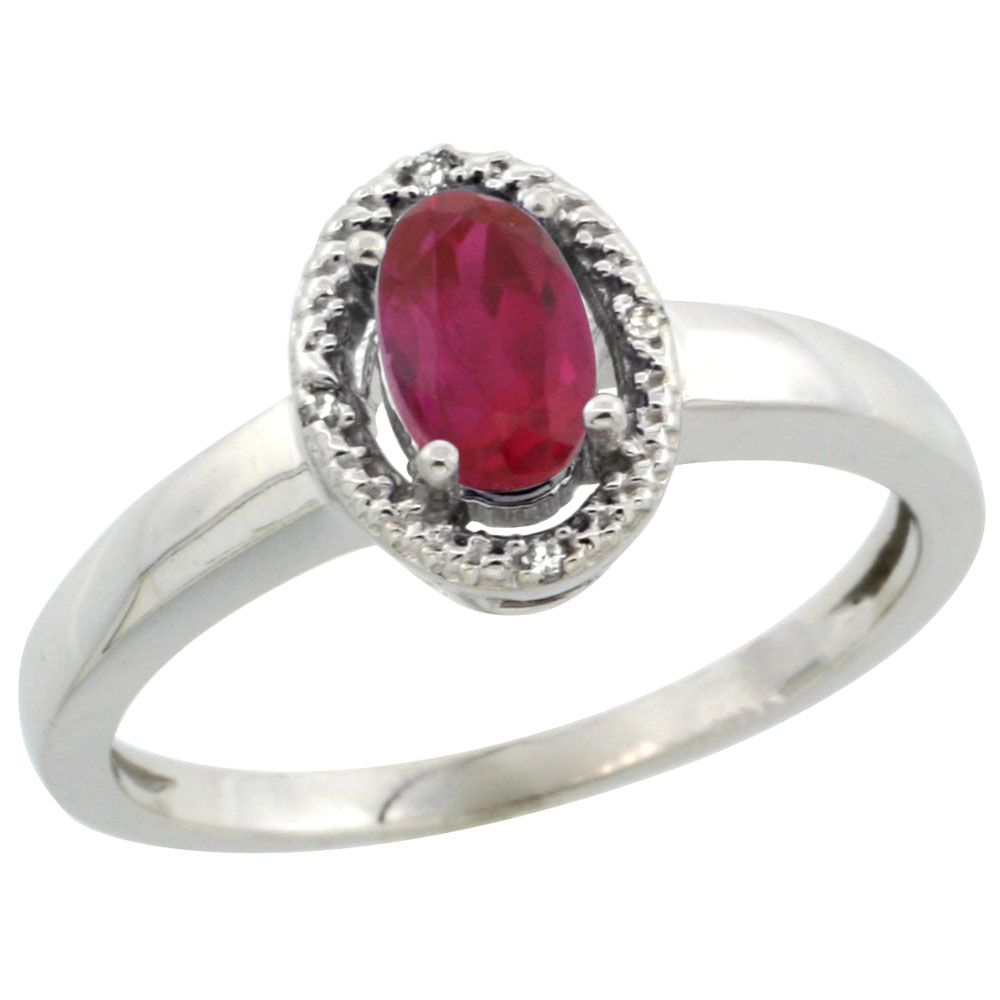 14K White Gold Diamond Halo Enhanced Ruby Engagement Ring Oval 6X4 mm, sizes 5-10
