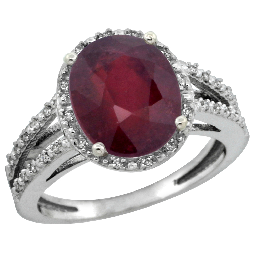10K White Gold Genuine Diamond Halo Ruby Engagement Ring for Women 11 X 9 mm Oval sizes 5-10