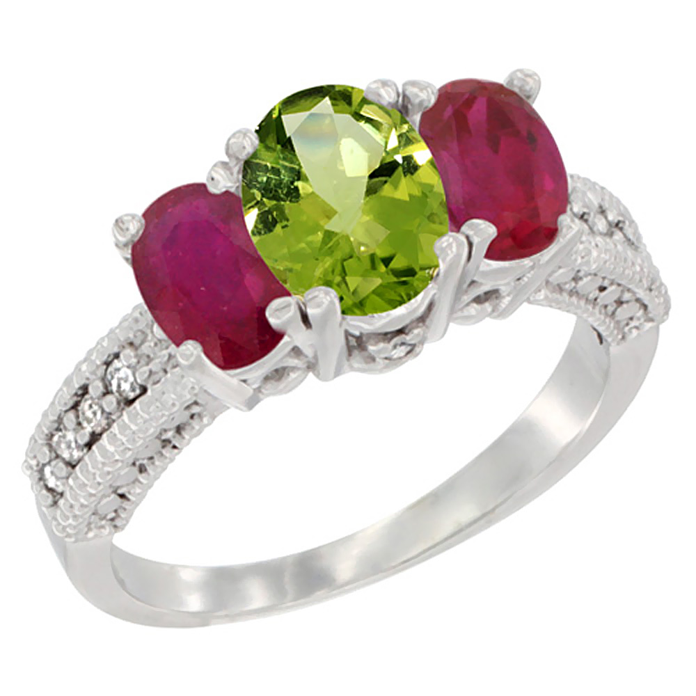 10K White Gold Diamond Natural Peridot Ring Oval 3-stone with Enhanced Ruby, sizes 5 - 10