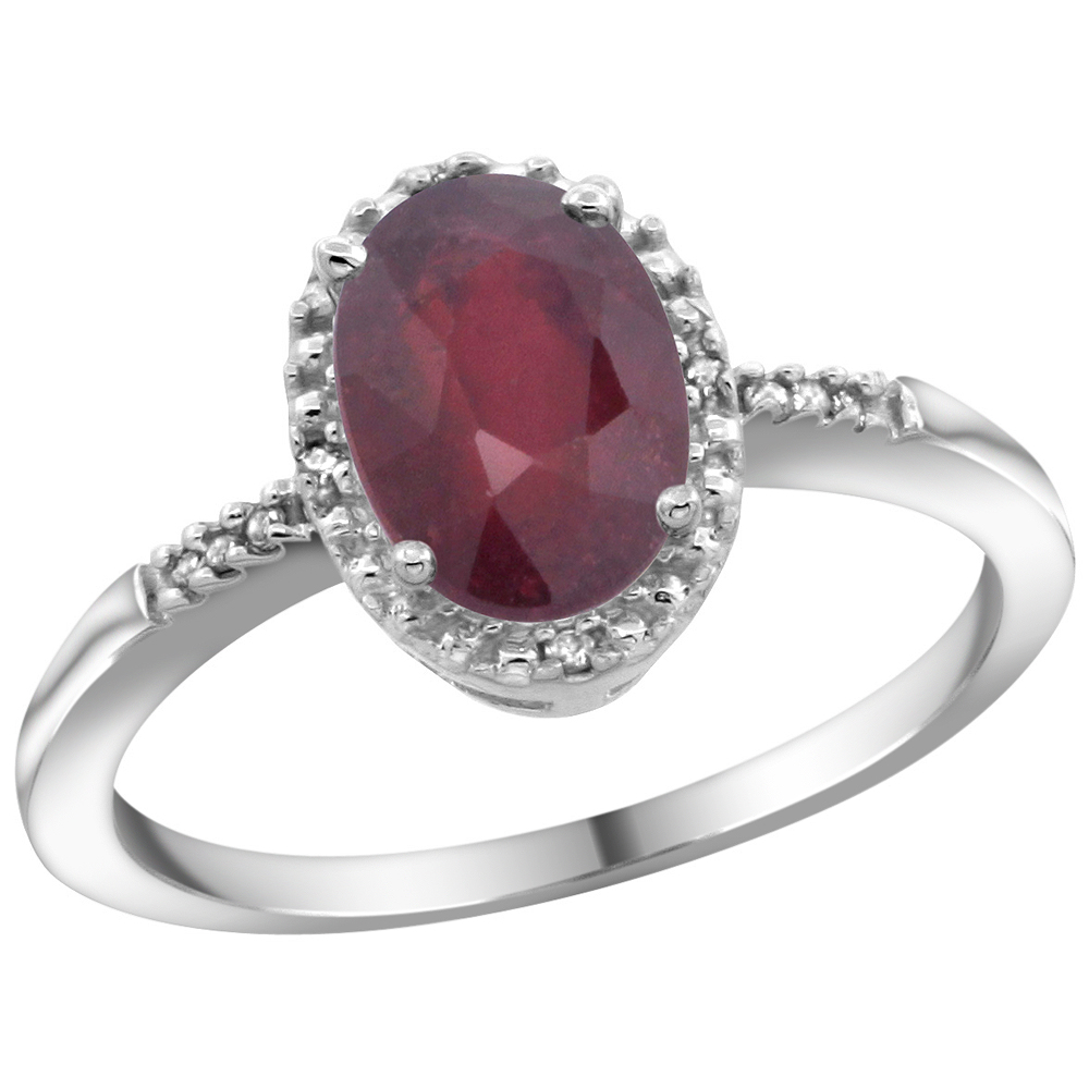14K White Gold Diamond Enhanced Ruby Ring Oval 8x6mm, sizes 5-10