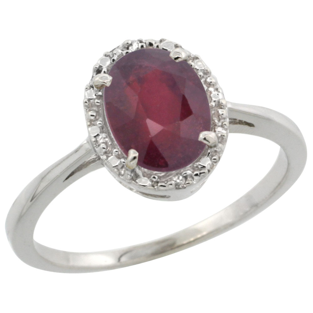 10k White Gold Enhanced Ruby Ring Oval 8x6 mm Diamond Halo, sizes 5-10