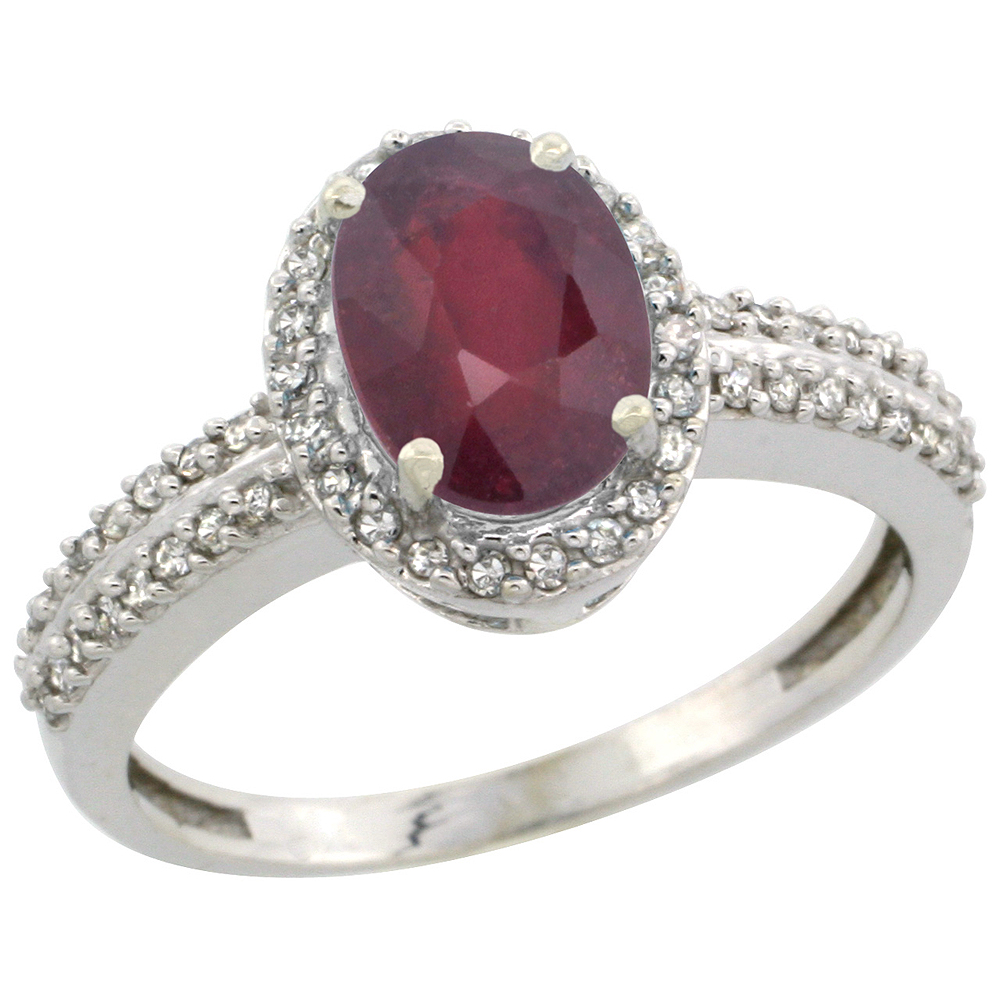 14K White Gold Enhanced Ruby Ring Oval 8x6mm Diamond Halo, sizes 5-10