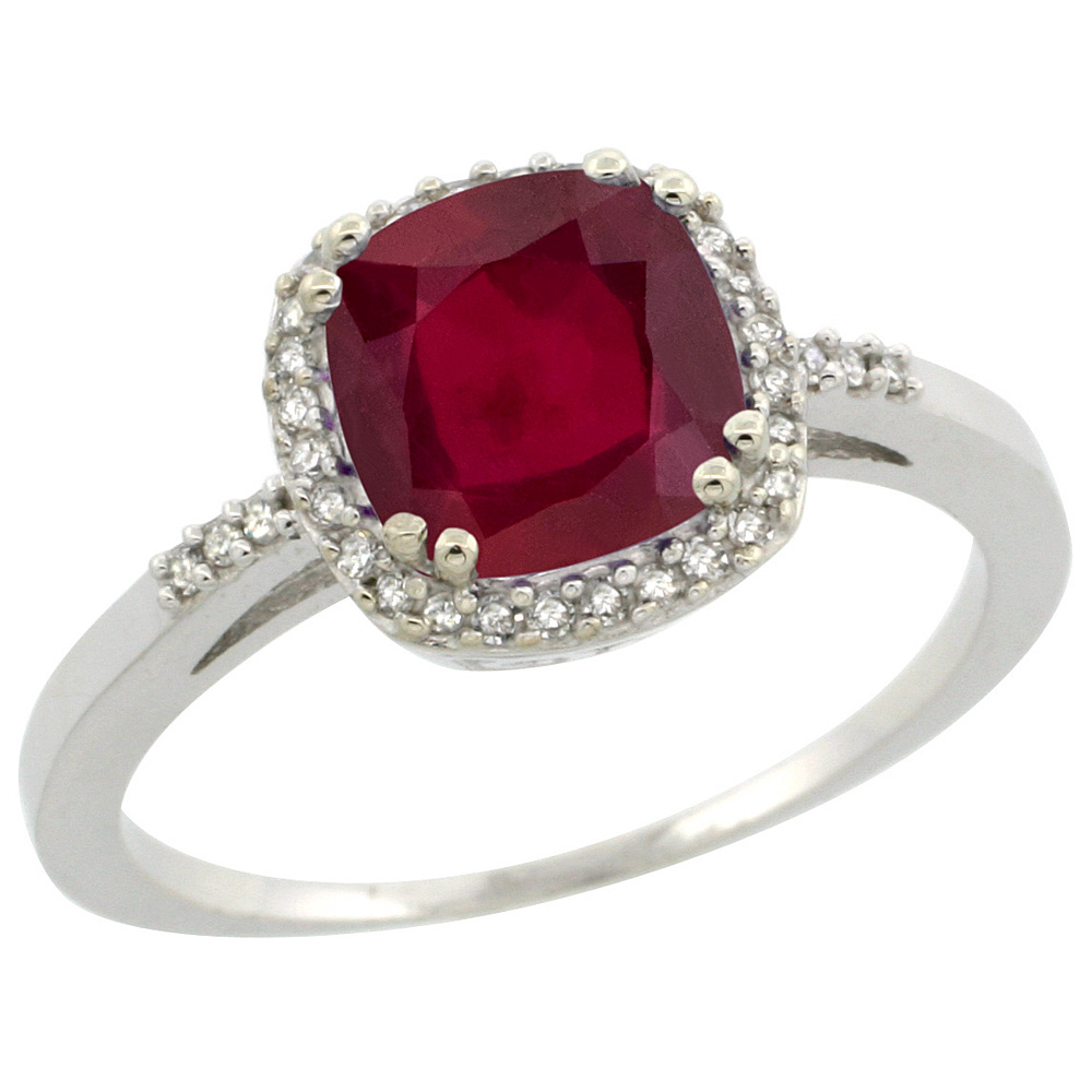 14K White Gold Diamond Enhanced Genuine Ruby Ring Cushion-cut 7x7mm, sizes 5-10