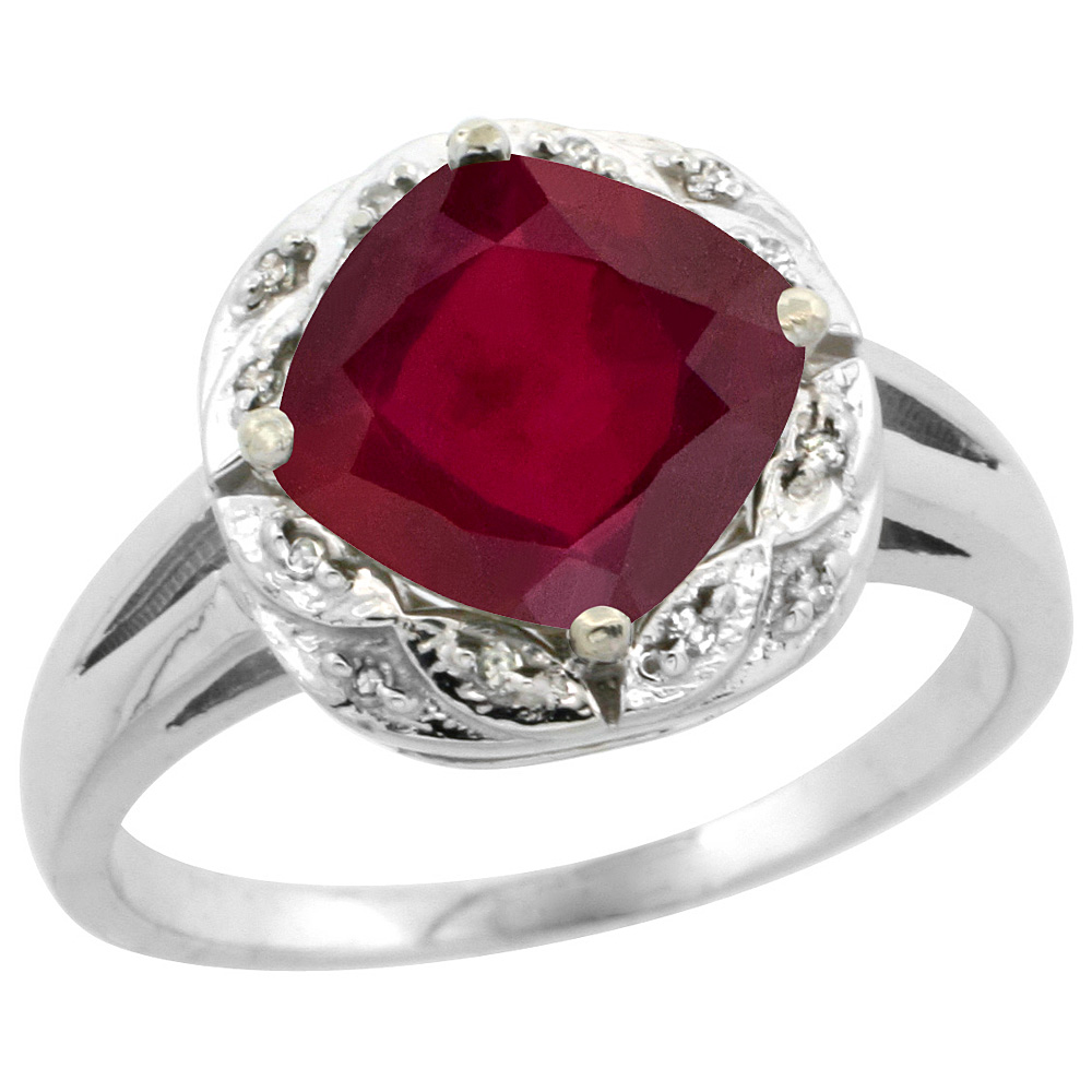 14K White Gold Diamond and Enhanced Genuine Ruby Ring Cushion-cut 8x8mm, sizes 5-10