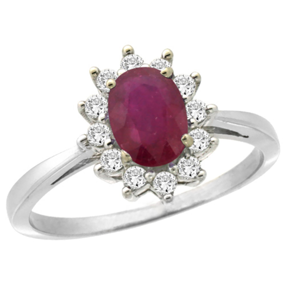 10k White Gold Enhanced Genuine Ruby Engagement Ring Oval 7x5mm Diamond Halo, sizes 5-10