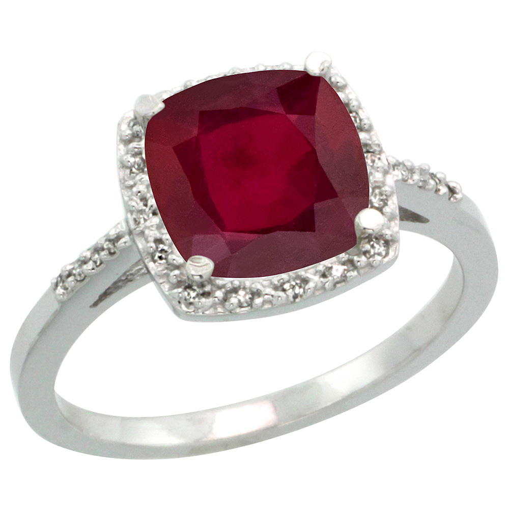 14K White Gold Diamond Enhanced Genuine Ruby Ring Cushion-cut 8x8 mm, sizes 5-10