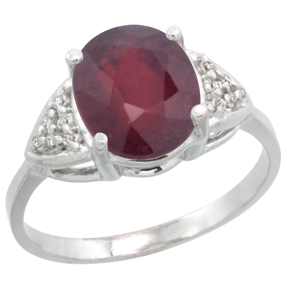 14k White Gold Diamond Enhanced Genuine Ruby Engagement Ring Oval 10x8mm, sizes 5-10