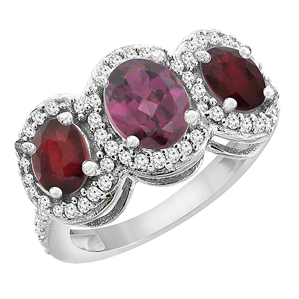 14K White Gold Natural Rhodolite & Enhanced Ruby 3-Stone Ring Oval Diamond Accent, sizes 5 - 10