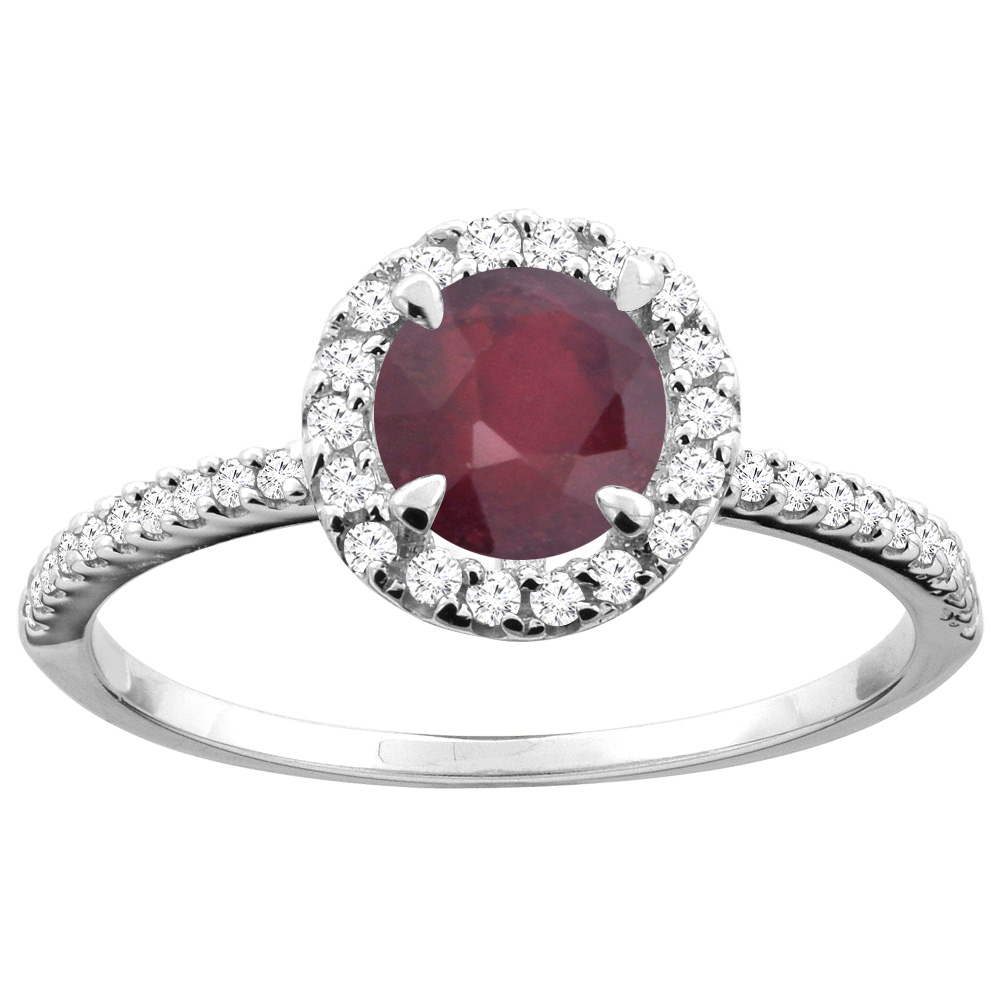 14K Gold Enhanced Ruby Ring Round 6mm Diamond Accents, sizes 5 - 10