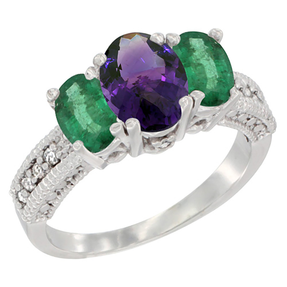 14K White Gold Diamond Natural Amethyst 7x5mm & 6x4mm Quality Emerald Oval 3-stone Mothers Ring,sz5-10