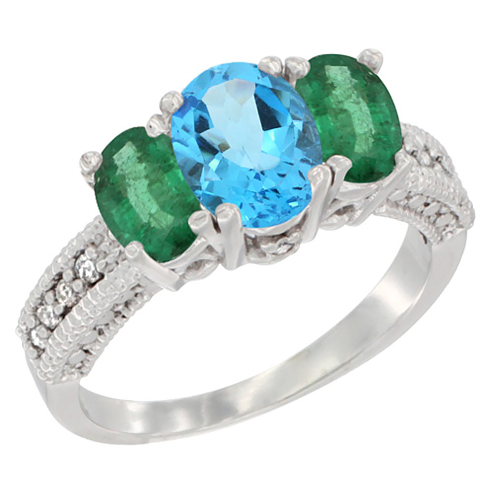 14k Yellow Gold Ladies Oval Natural Swiss Blue Topaz 3-Stone Ring with Emerald Sides Diamond Accent