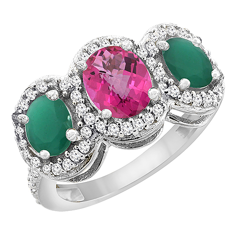 14K White Gold Natural Pink Sapphire & Cabochon Emerald 3-Stone Ring Oval Diamond Accent, sizes 5 - 10