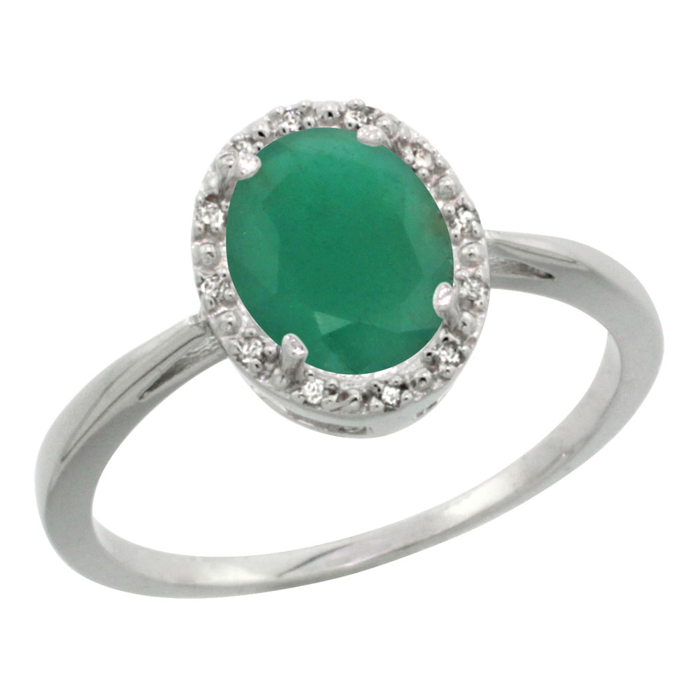 Sterling Silver Natural High Quality Emerald Diamond Halo Ring Oval 8X6mm, 1/2 inch wide, sizes 5-10