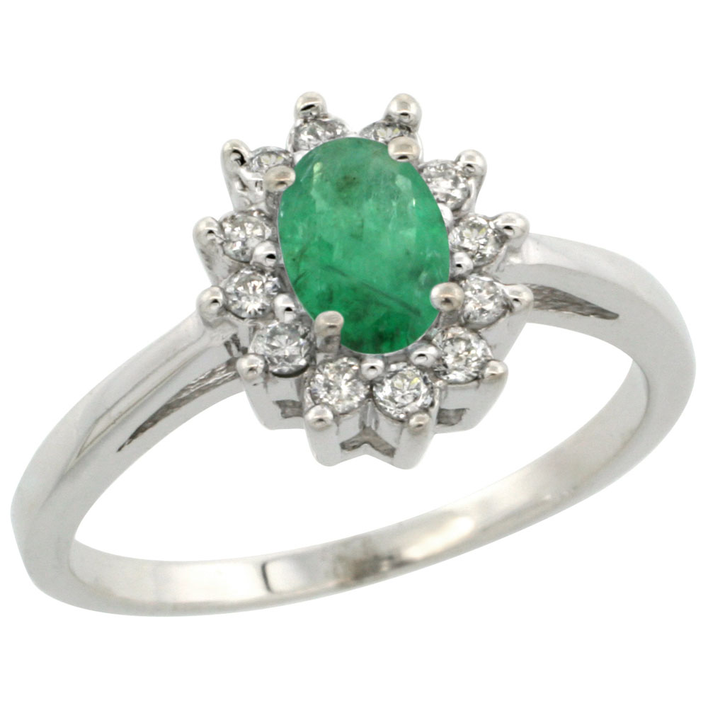 14K White Gold Natural Emerald Flower Diamond Halo Ring Oval 6x4 mm, sizes 5 10
