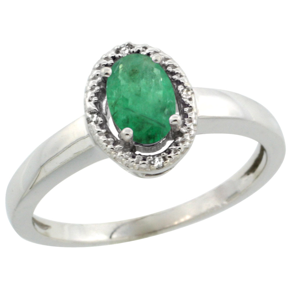 14K White Gold Diamond Halo Natural Emerald Engagement Ring Oval 6X4 mm, sizes 5-10