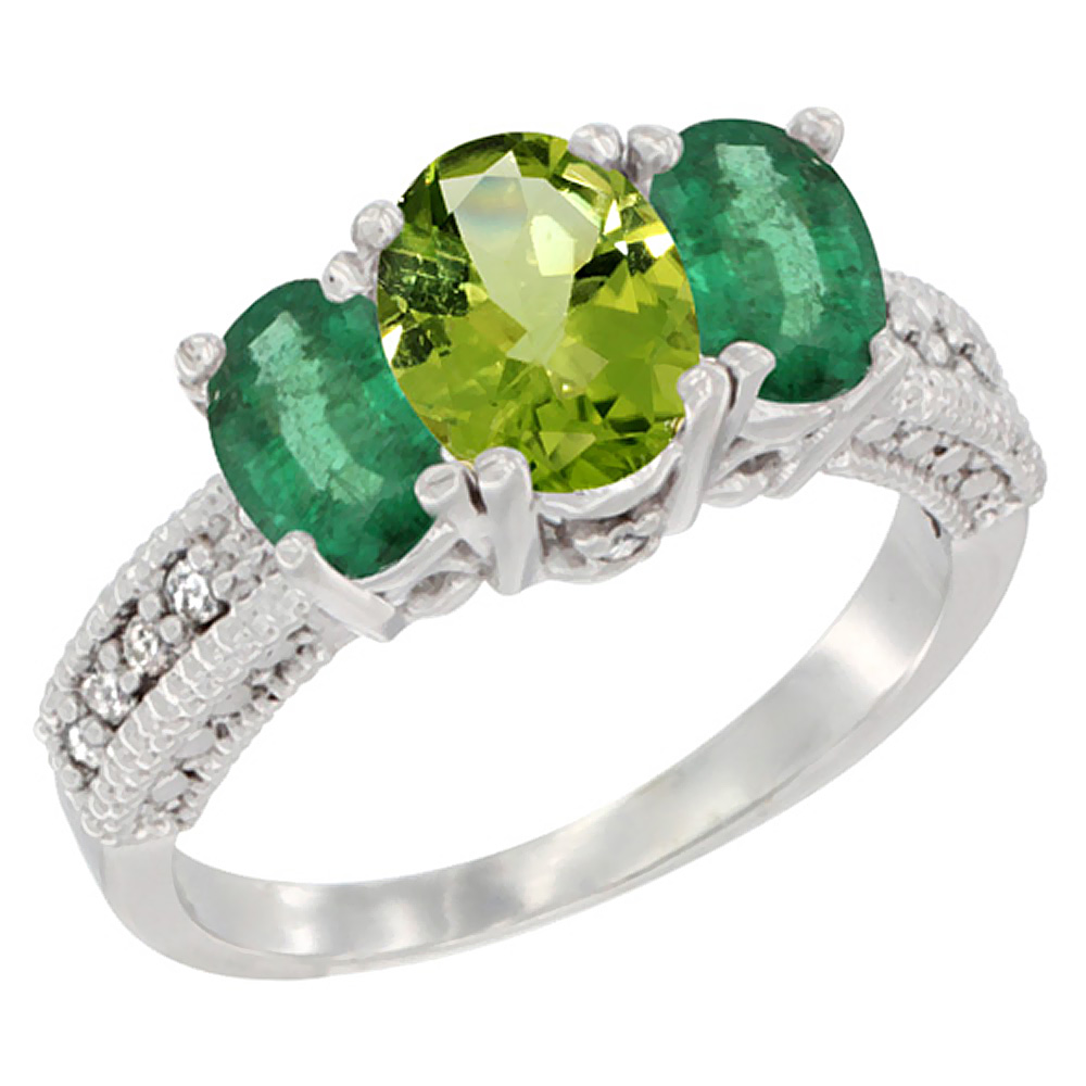 10K White Gold Diamond Natural Peridot 7x5mm & 6x4mm Quality Emerald Oval 3-stone Mothers Ring,size 5-10