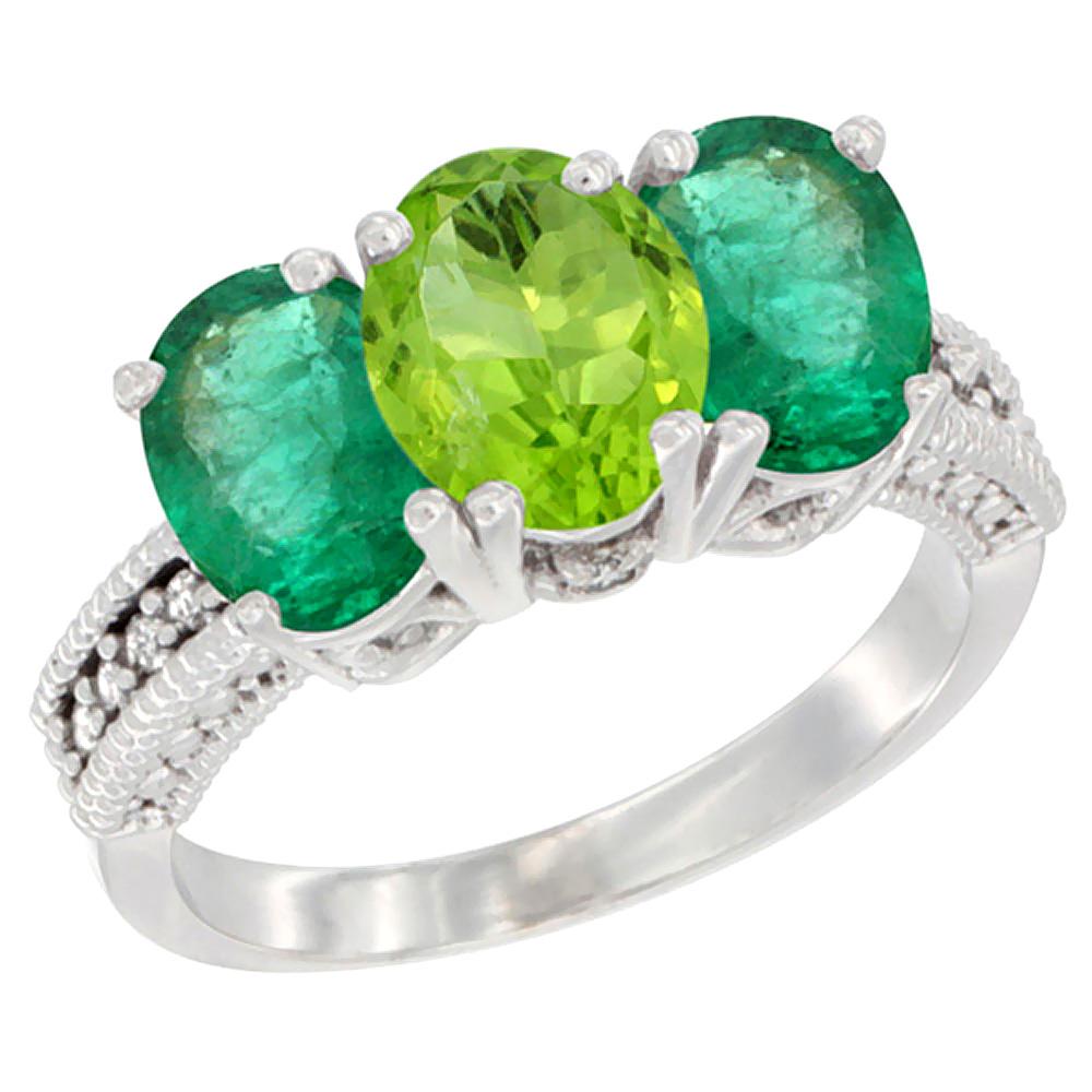 10K White Gold Diamond Natural Peridot & Emerald Ring 3-Stone 7x5 mm Oval, sizes 5 - 10