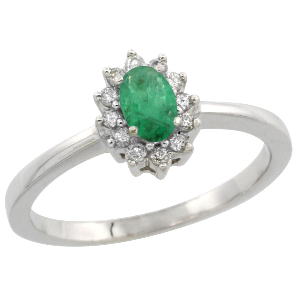 10k White Gold Natural Cabochon Emerald Ring Oval 5x3mm Diamond Halo, sizes 5-10