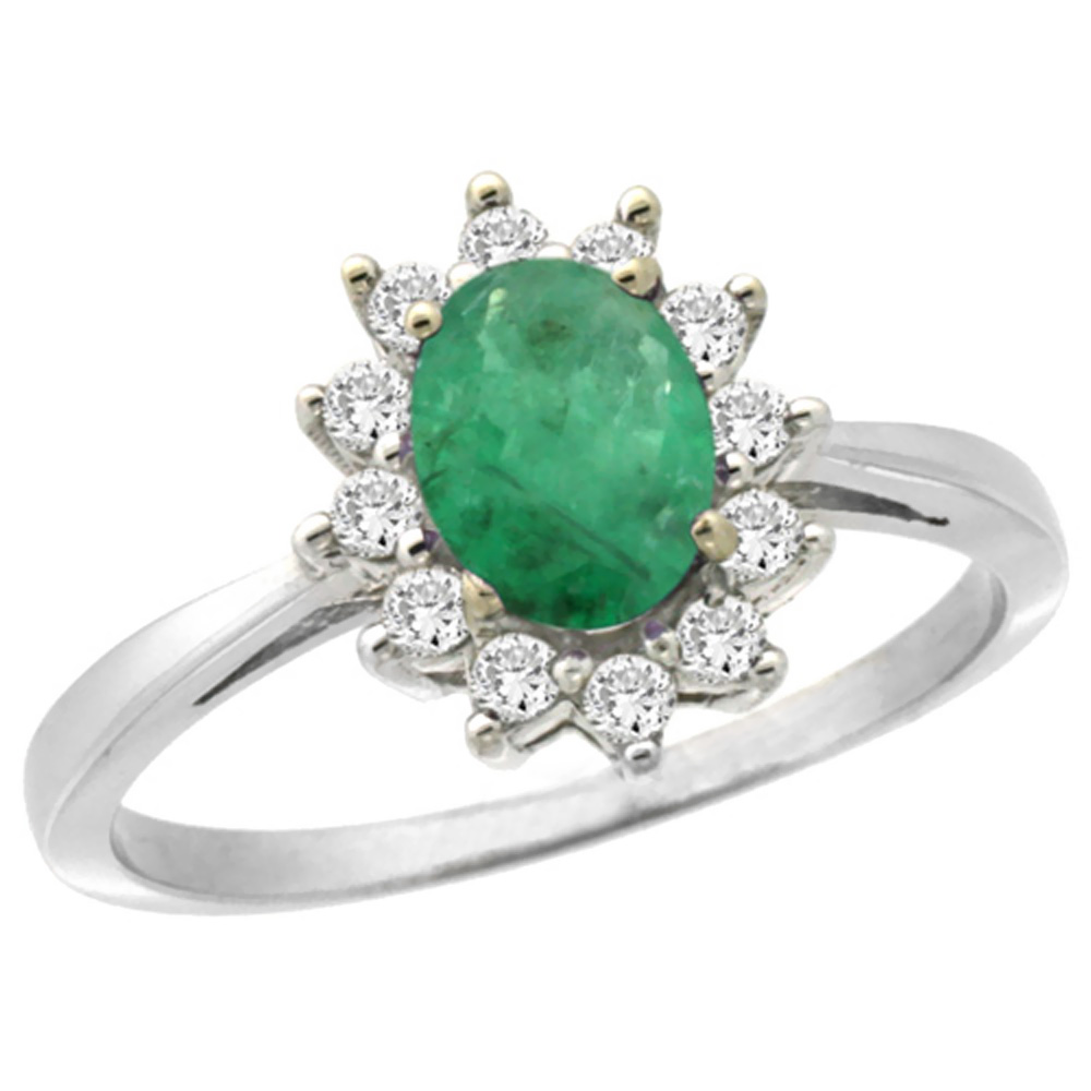 14K White Gold Natural Emerald Engagement Ring Oval 7x5mm Diamond Halo, sizes 5-10