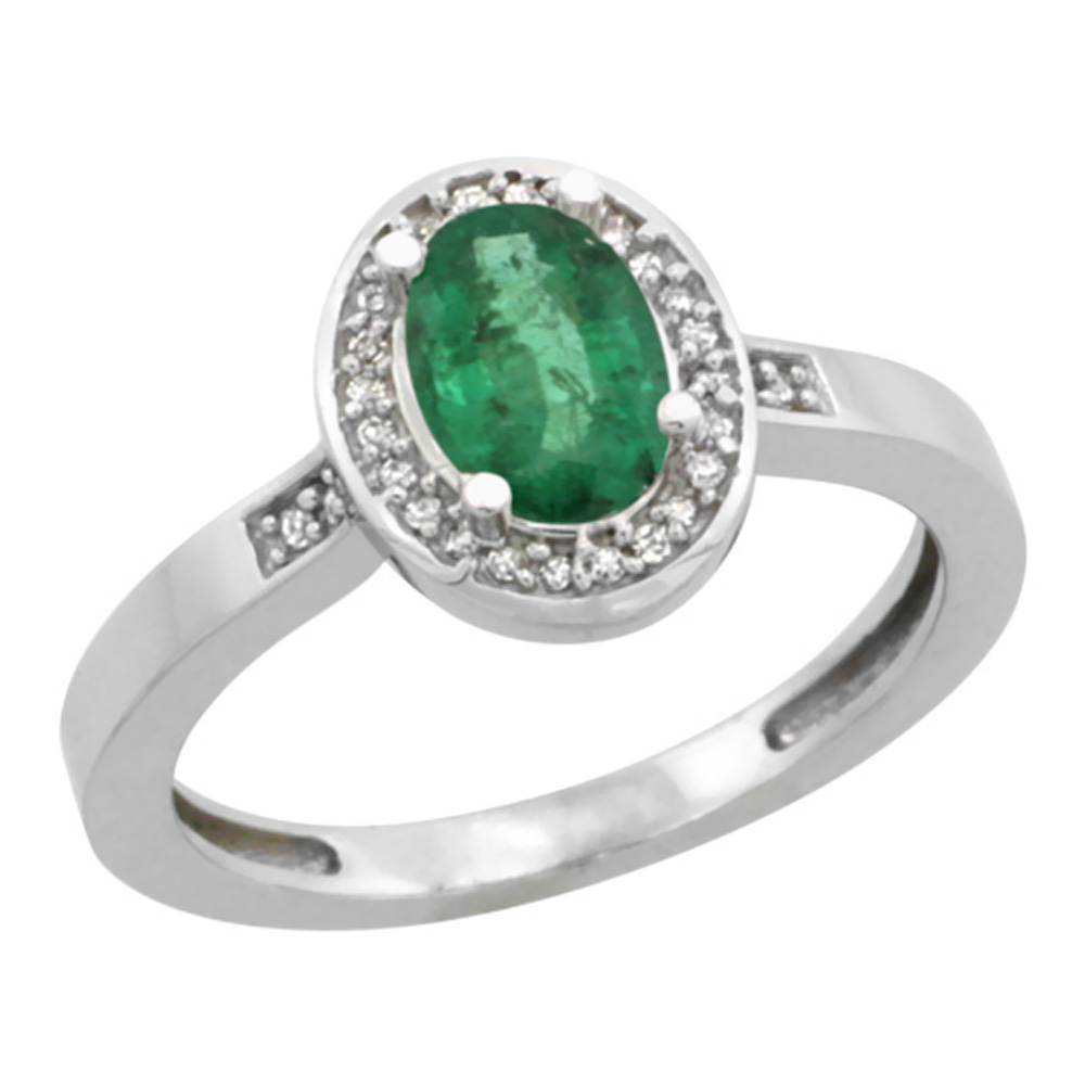 10K White Gold Diamond Natural Emerald Engagement Ring Oval 7x5mm, sizes 5-10