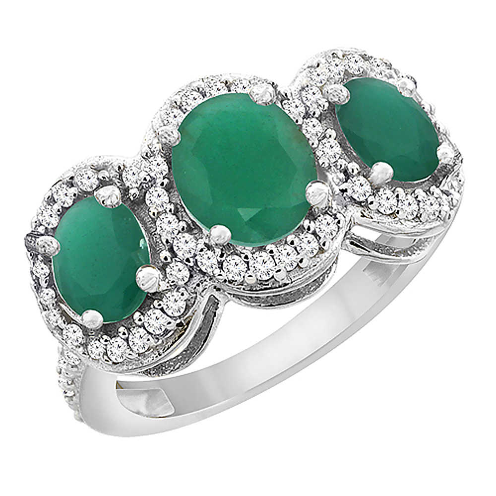 14K White Gold Natural Cabochon Emerald 3-Stone Ring Oval Diamond Accent, sizes 5 - 10