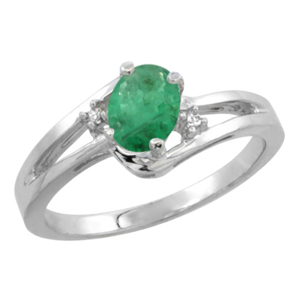 14K White Gold Diamond Natural Emerald Ring Oval 6x4 mm, sizes 5-10