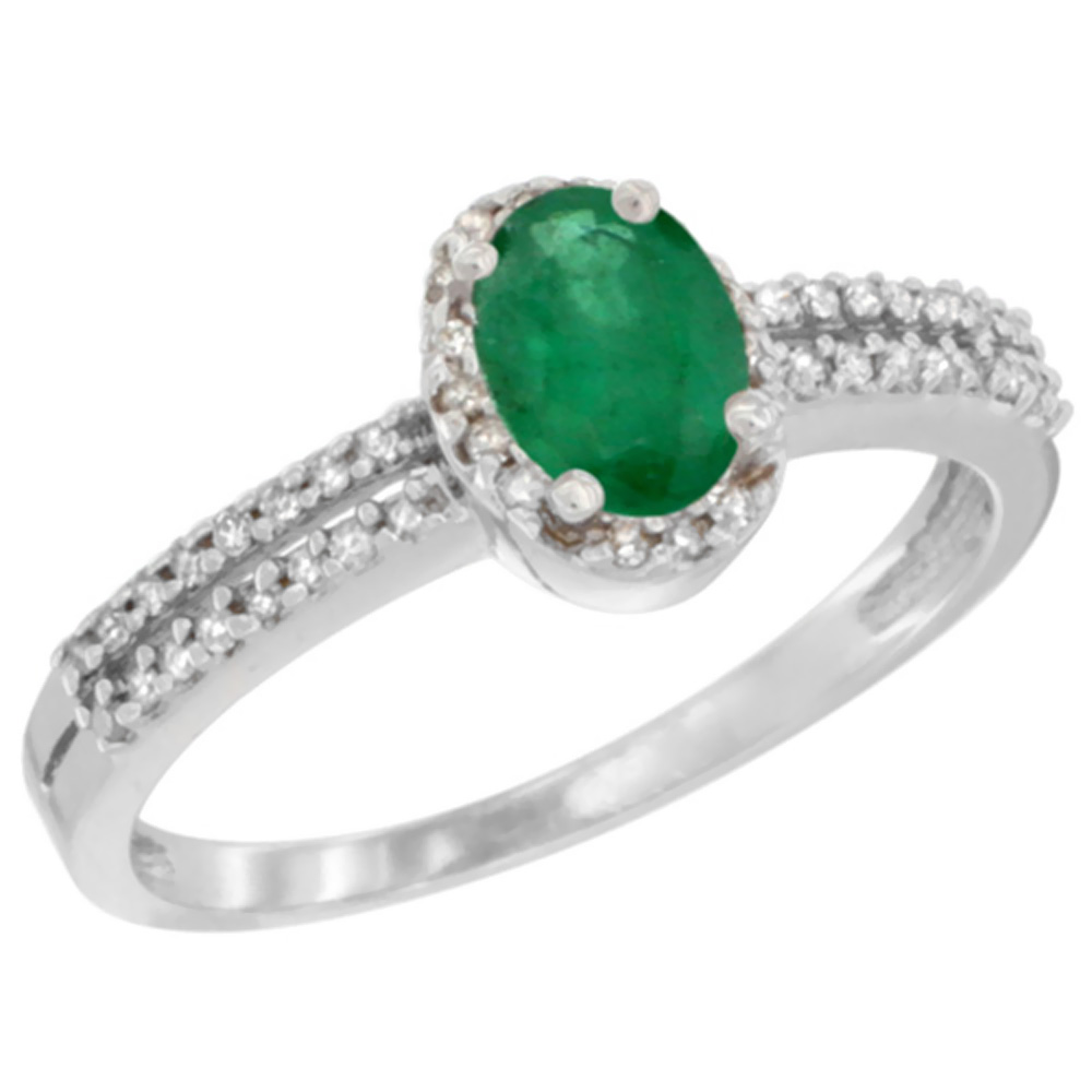 10K White Gold Natural Emerald Ring Oval 6x4mm Diamond Accent, sizes 5-10