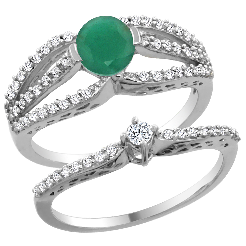 14K White Gold Natural Emerald 2-piece Engagement Ring Set Round 5mm, sizes 5 - 10