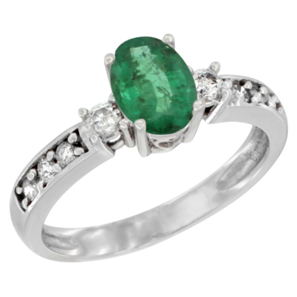 14K White Gold Natural Emerald Ring Oval 7x5 mm Diamond Accent, sizes 5 - 10