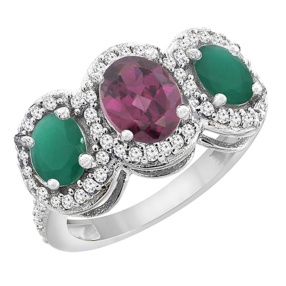 10K White Gold Natural Rhodolite & Emerald 3-Stone Ring Oval Diamond Accent, sizes 5 - 10