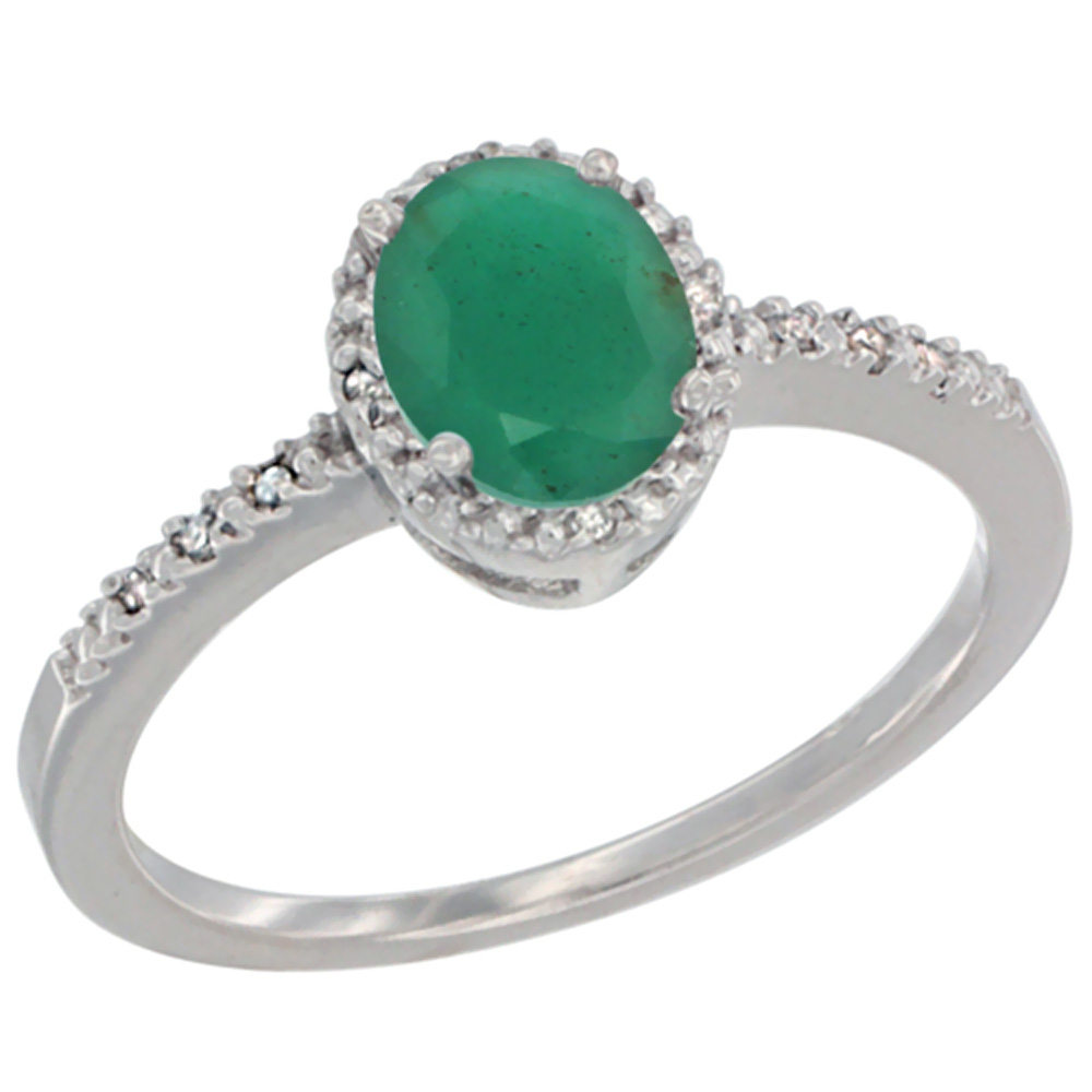10K White Gold Diamond Natural Emerald Engagement Ring Oval 7x5 mm, sizes 5 - 10