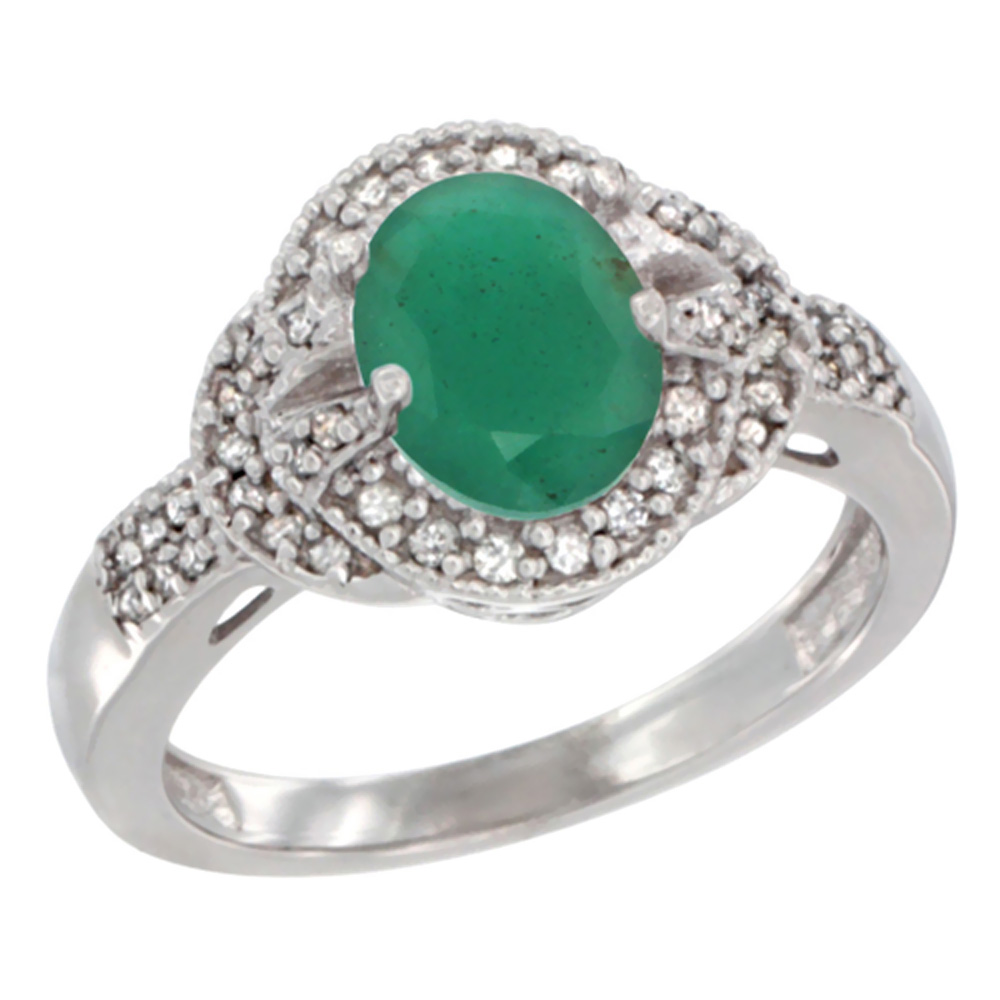 14K White Gold Natural Cabochon Emerald Ring Oval 8x6 mm Diamond Accent, sizes 5 - 10