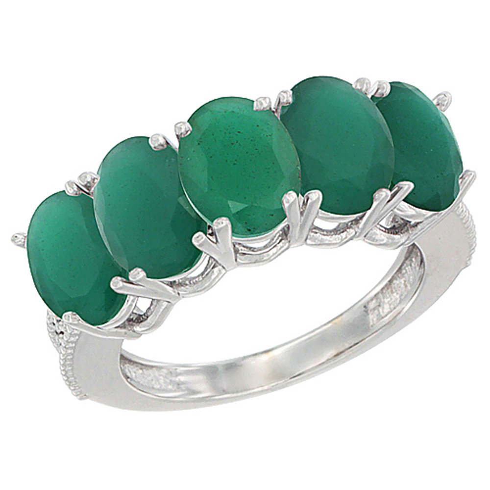 10K White Gold Natural Emerald 1 ct. Oval 7x5mm 5-Stone Mother's Ring with Diamond Accents, sizes 5 to 10 with half sizes