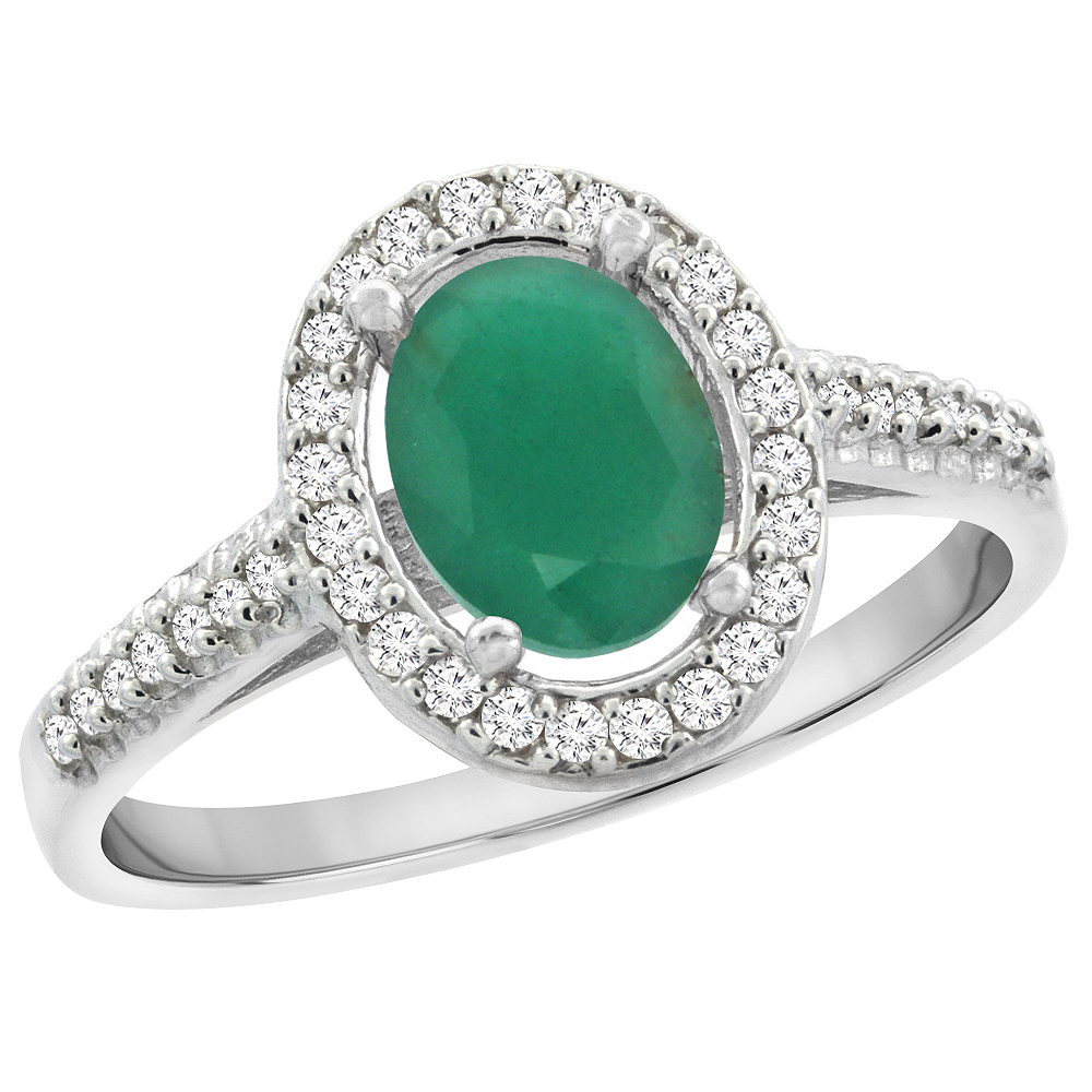 14K White Gold Natural Emerald Engagement Ring Oval 7x5 mm Diamond Halo, sizes 5 - 10