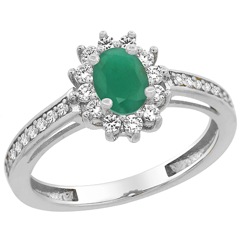 10K White Gold Natural Cabochon Emerald Flower Halo Ring Oval 6x4 mm Diamond Accents, sizes 5 - 10