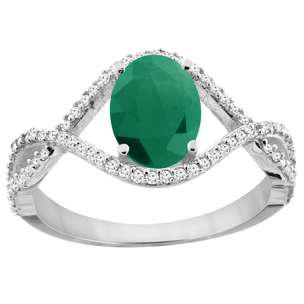 10K White Gold Natural Cabochon Emerald Ring Oval 8x6 mm Infinity Diamond Accents, sizes 5 - 10