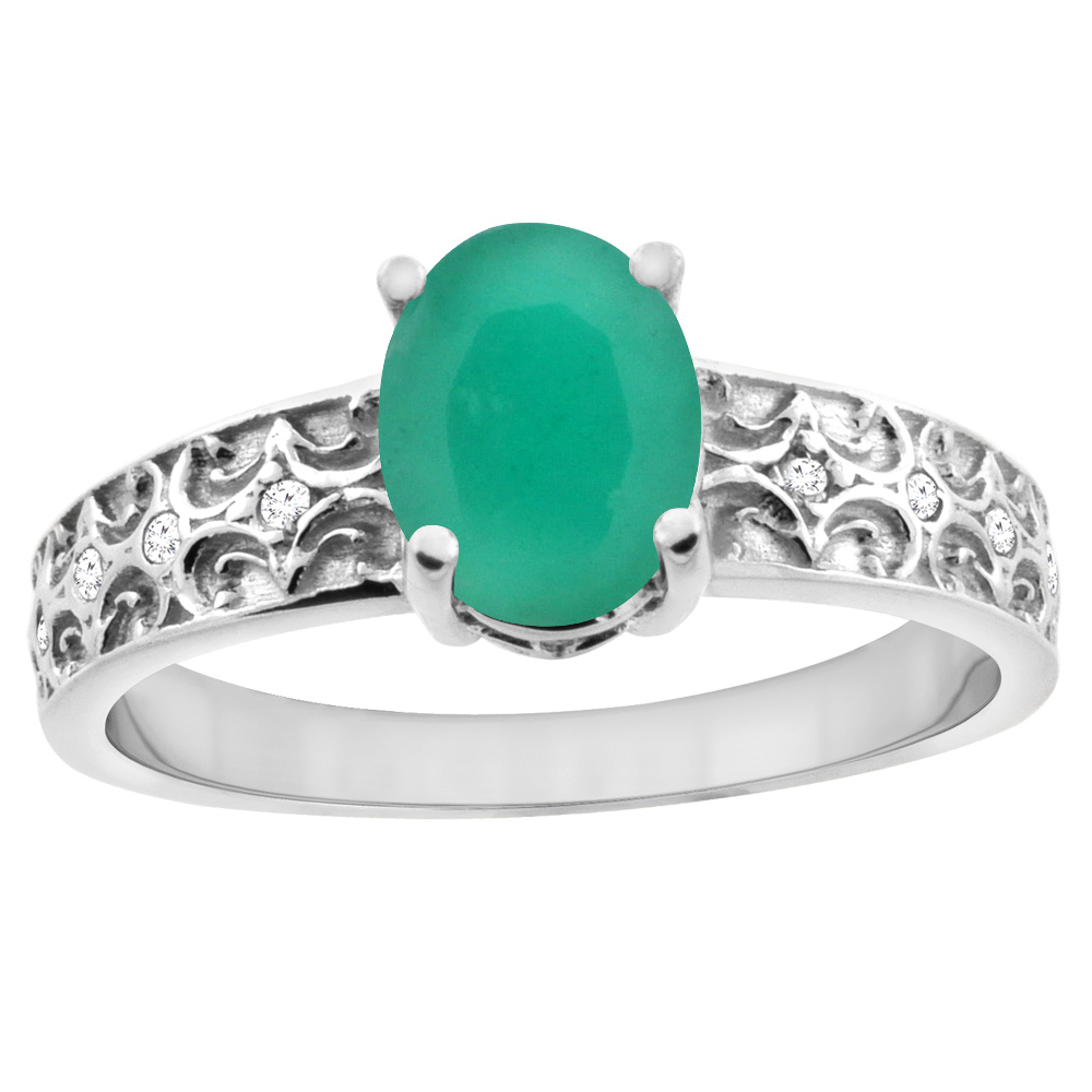 10K White Gold Natural Cabochon Emerald Ring Oval 8x6 mm Diamond Accents, sizes 5 - 10
