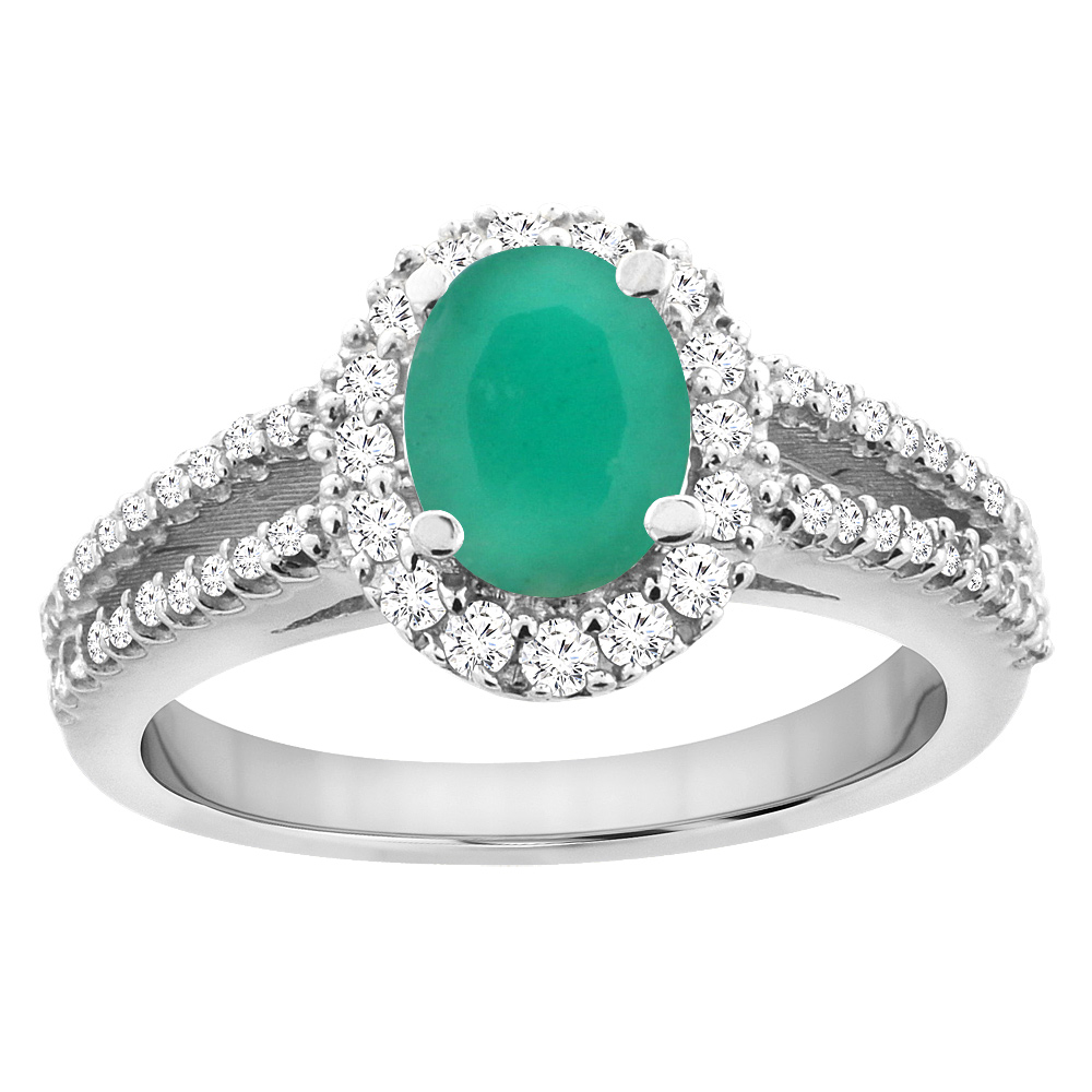 14K White Gold Natural Cabochon Emerald Split Shank Halo Engagement Ring Oval 7x5 mm, sizes 5 - 10