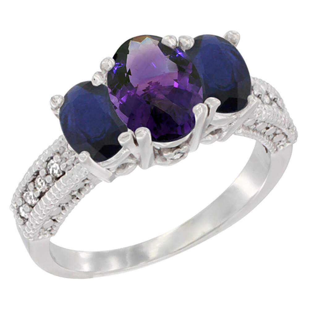 14K White Gold Diamond Natural Amethyst 7x5mm&6x4mmQuality Blue Sapphire Oval 3-stone Mothers Ring,sz5-10