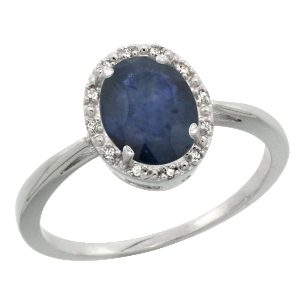 14K White Gold Natural Blue Sapphire Diamond Halo Ring Oval 8X6mm, sizes 5 10