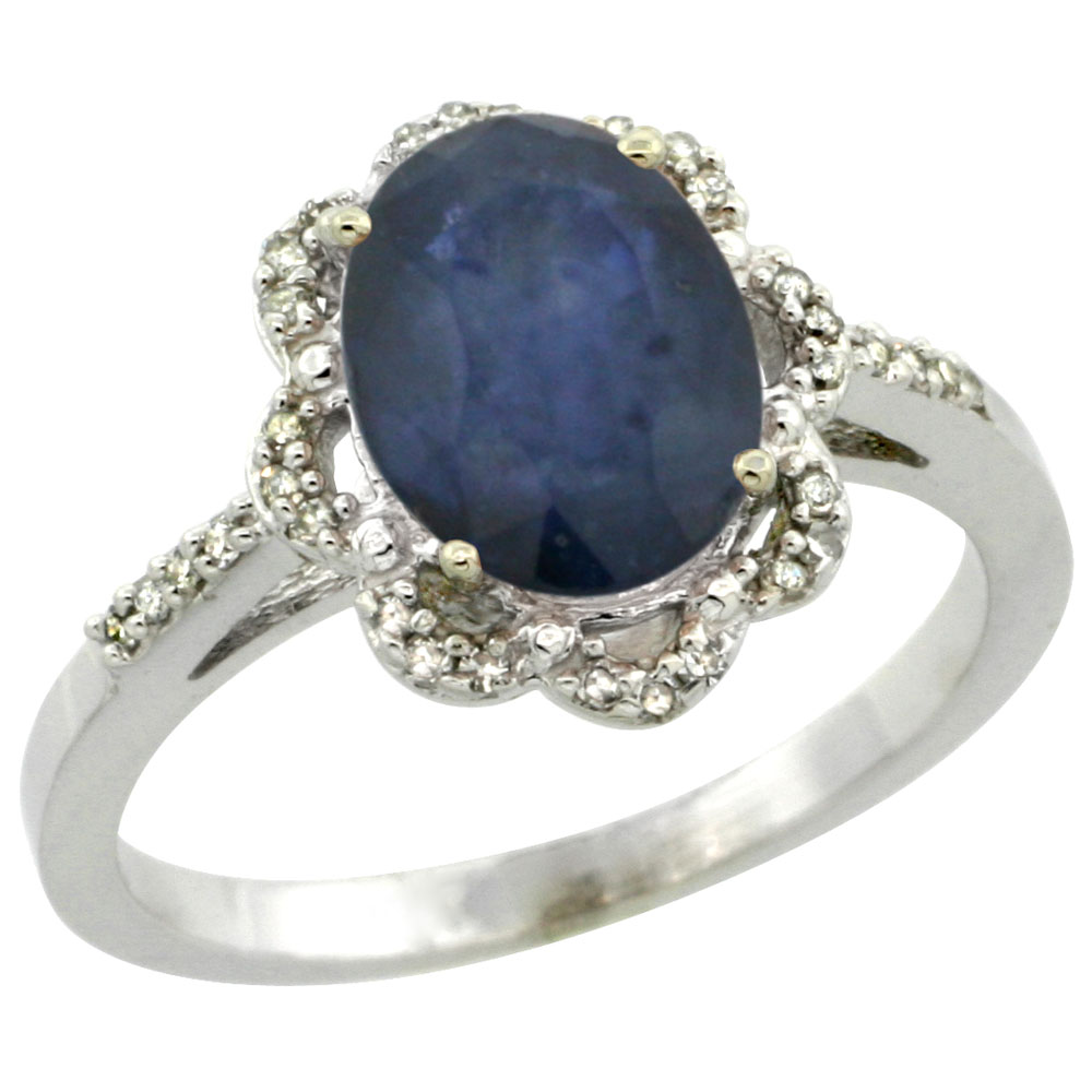 10K White Gold Diamond Halo Natural Blue Sapphire Engagement Ring Oval 9x7mm, sizes 5-10
