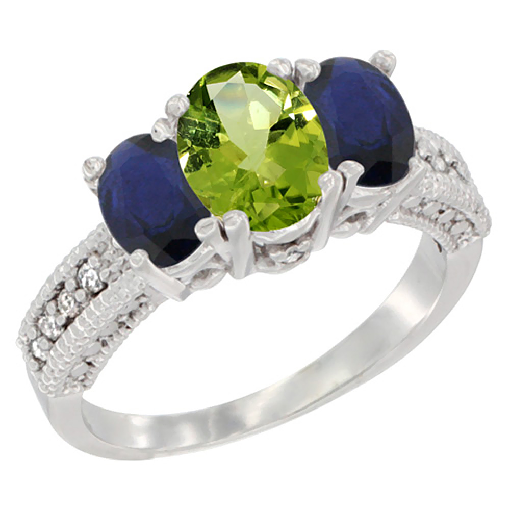 10K White Gold Diamond Natural Peridot 7x5mm &6x4mm Quality Blue Sapphire Oval 3-stone MothersRing,sz5-10