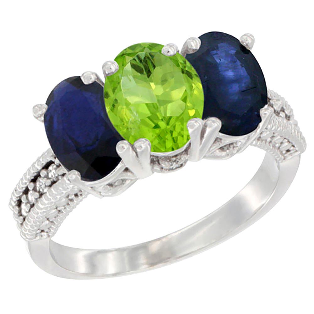 10K White Gold Diamond Natural Peridot & Blue Sapphire Ring 3-Stone 7x5 mm Oval, sizes 5 - 10