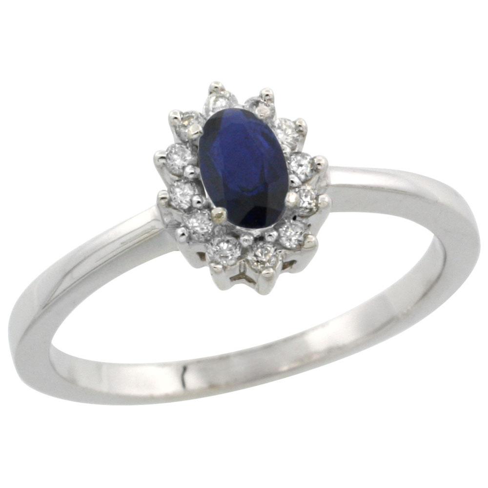 10k White Gold Natural Blue Sapphire Ring Oval 5x3mm Diamond Halo, sizes 5-10